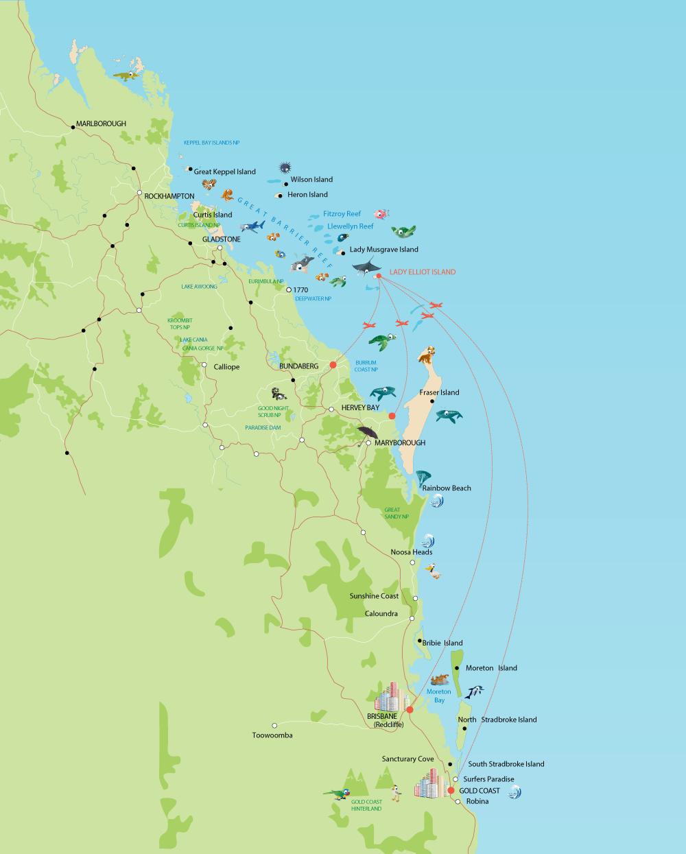 Location Map Lady Elliot Island Eco Resort Great Barrier